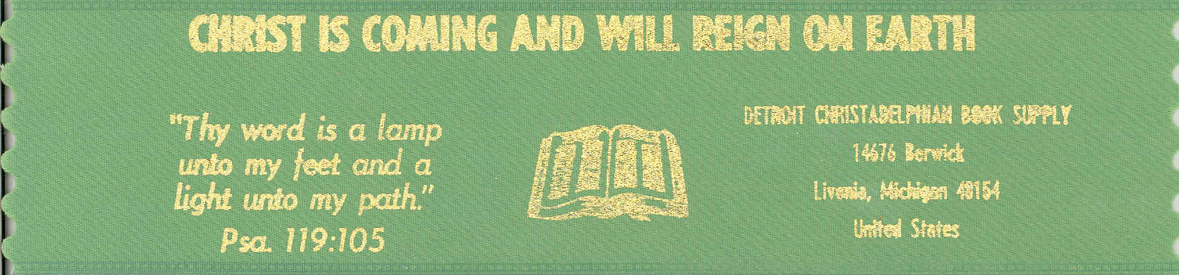 Christ is coming and will reign on earth ~ green bookmark