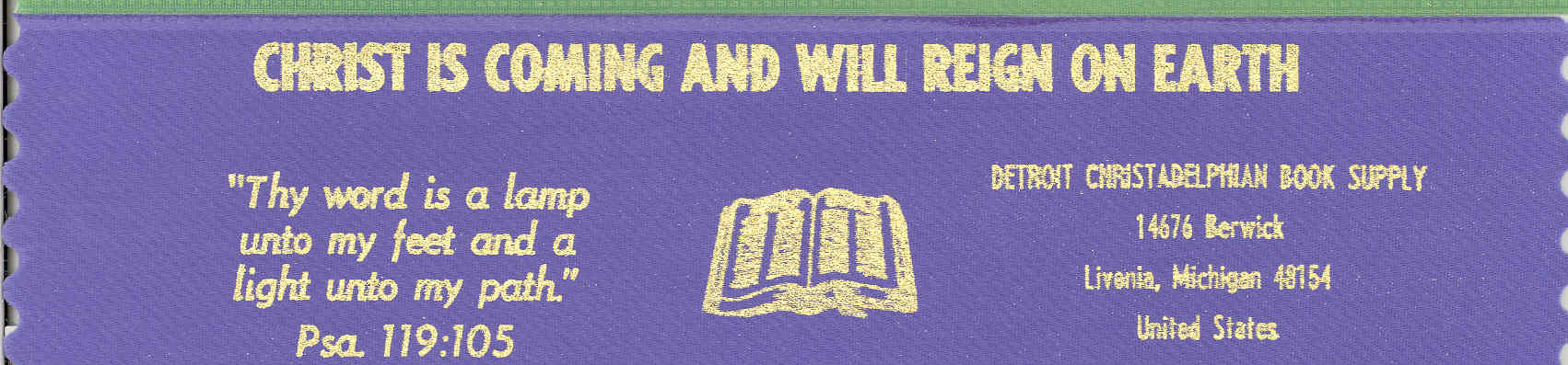 Christ is coming and will reign on earth ~ blue bookmark